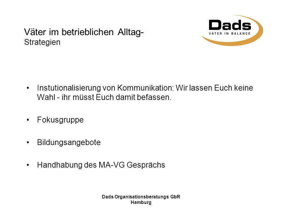 Dads Organisationsberatungs GbR Hamburg Instutionalisierung von Kommunikation: Wir lassen Euch keine Wahl - ihr müsst Euch damit befassen. Fokusgruppe