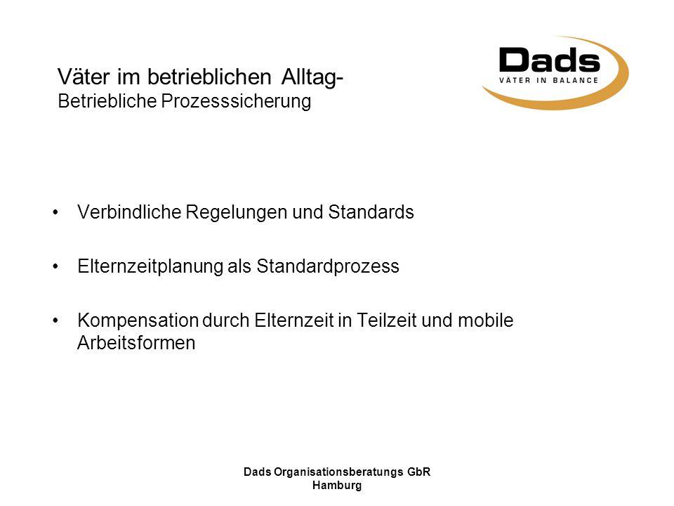 Dads Organisationsberatungs GbR Hamburg Verbindliche Regelungen und Standards Elternzeitplanung als Standardprozess Kompensation durch Elternzeit in T