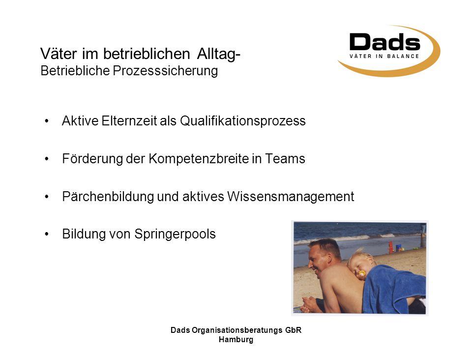 Dads Organisationsberatungs GbR Hamburg Aktive Elternzeit als Qualifikationsprozess Förderung der Kompetenzbreite in Teams Pärchenbildung und aktives