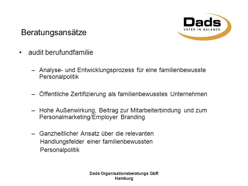 Dads Organisationsberatungs GbR Hamburg Beratungsansätze audit berufundfamilie –Analyse- und Entwicklungsprozess für eine familienbewusste Personalpol