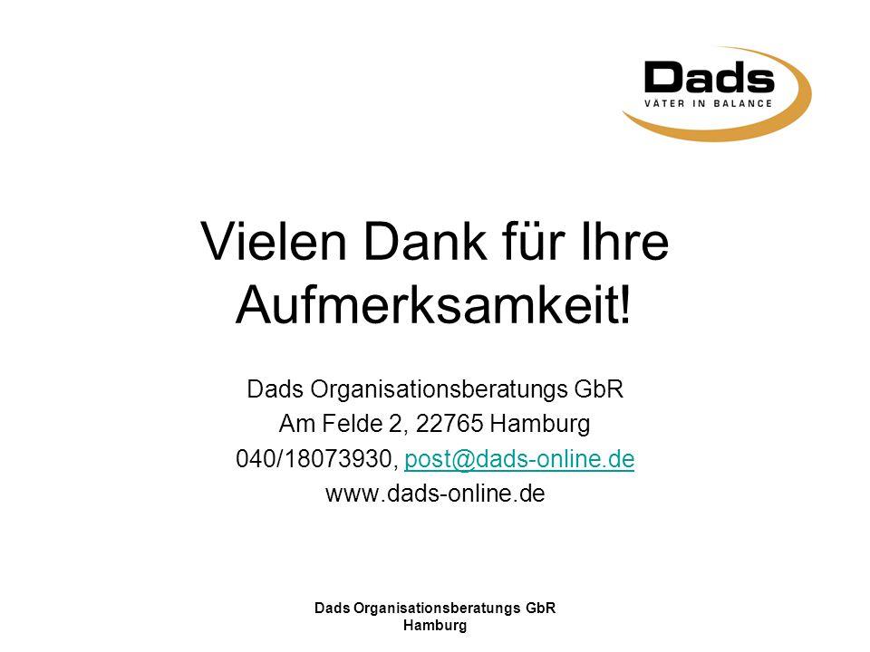 Dads Organisationsberatungs GbR Hamburg Vielen Dank für Ihre Aufmerksamkeit! Dads Organisationsberatungs GbR Am Felde 2, 22765 Hamburg 040/18073930, p