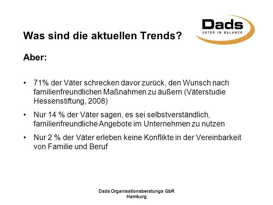 Dads Organisationsberatungs GbR Hamburg Was sind die aktuellen Trends? Aber: 71% der Väter schrecken davor zurück, den Wunsch nach familienfreundliche