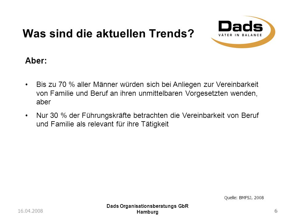 Dads Organisationsberatungs GbR Hamburg Was sind die aktuellen Trends? 616.04.2008 Quelle: BMFSJ, 2008 92,0% 64,0% 78,0% 59,0% Aber: Bis zu 70 % aller