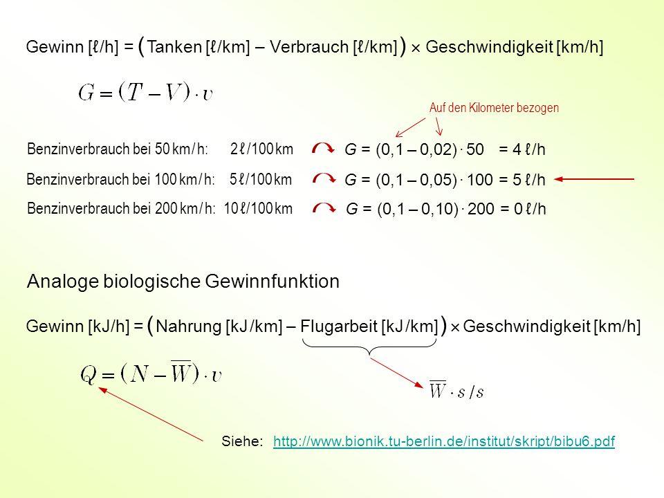 Gewinn [ℓ /h] = ( Tanken [ℓ /km] – Verbrauch [ℓ /km] )  Geschwindigkeit [km/h] Benzinverbrauch bei 50 km / h: 2 ℓ /100 km Benzinverbrauch bei 100 km / h: 5 ℓ /100 km Benzinverbrauch bei 200 km / h: 10 ℓ /100 km Analoge biologische Gewinnfunktion Gewinn [kJ/h] = ( Nahrung [kJ /km] – Flugarbeit [kJ /km] )  Geschwindigkeit [km/h] G = (0,1 – 0,02) · 50 = 4 ℓ /h G = (0,1 – 0,05) · 100 = 5 ℓ /h G = (0,1 – 0,10) · 200 = 0 ℓ /h http://www.bionik.tu-berlin.de/institut/skript/bibu6.pdfSiehe: Auf den Kilometer bezogen