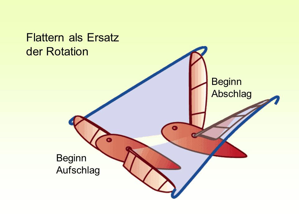 Flattern als Ersatz der Rotation Beginn Abschlag Beginn Aufschlag
