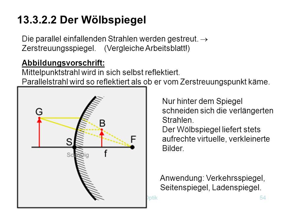 Kap.13 Optik53 Übungsaufgabe (Fleißaufgabe) Zeichne einen Halbkreis mit Radius 9 cm und lasse ein Parallelstrahlenbündel (Abstand 5mm) auf den Spiegel auftreffen.