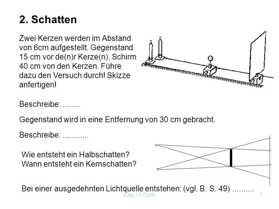 Kap.13 Optik6 Schülerversuche zu Lichtausbreitung und Schatten 1.
