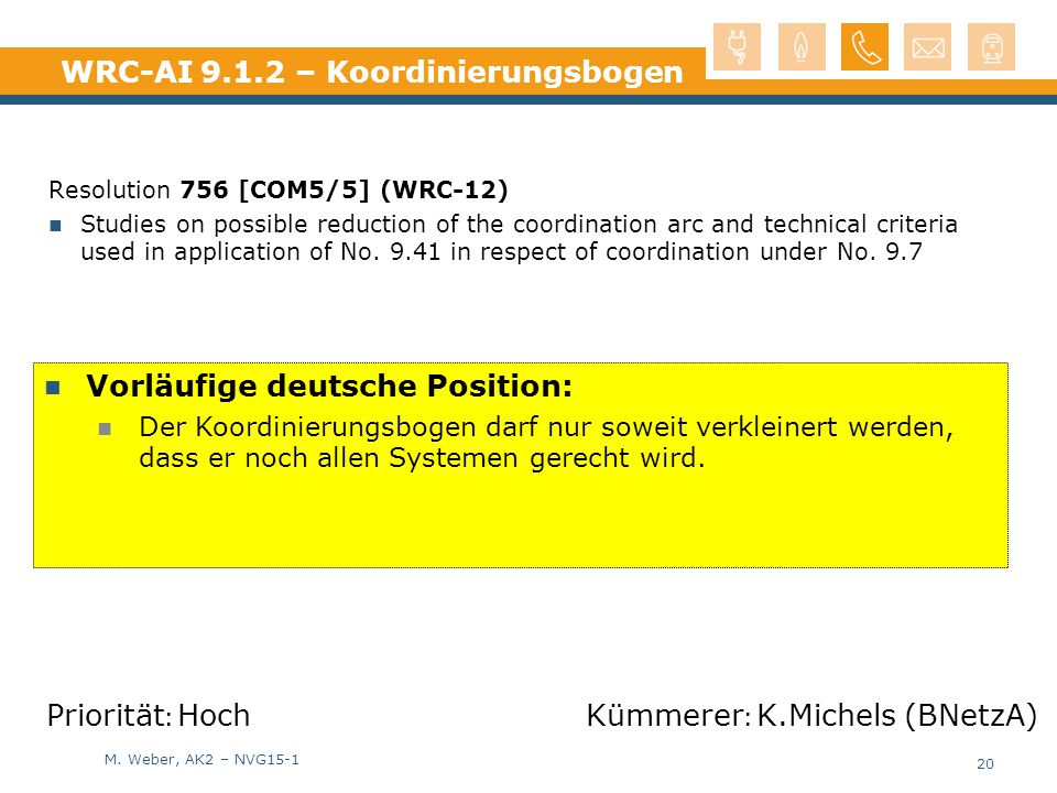 M. Weber, AK2 – NVG15-1 WRC-AI 9.1.2 – Koordinierungsbogen Resolution 756 [COM5/5] (WRC-12) Studies on possible reduction of the coordination arc and