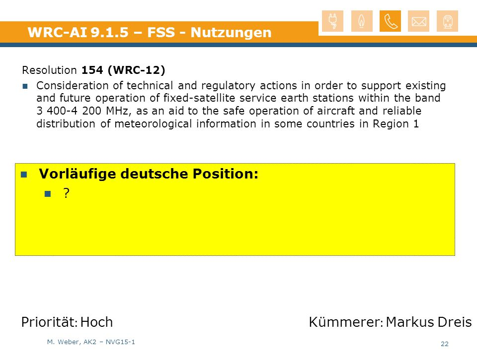M. Weber, AK2 – NVG15-1 WRC-AI 9.1.5 – FSS - Nutzungen Resolution 154 (WRC-12) Consideration of technical and regulatory actions in order to support e