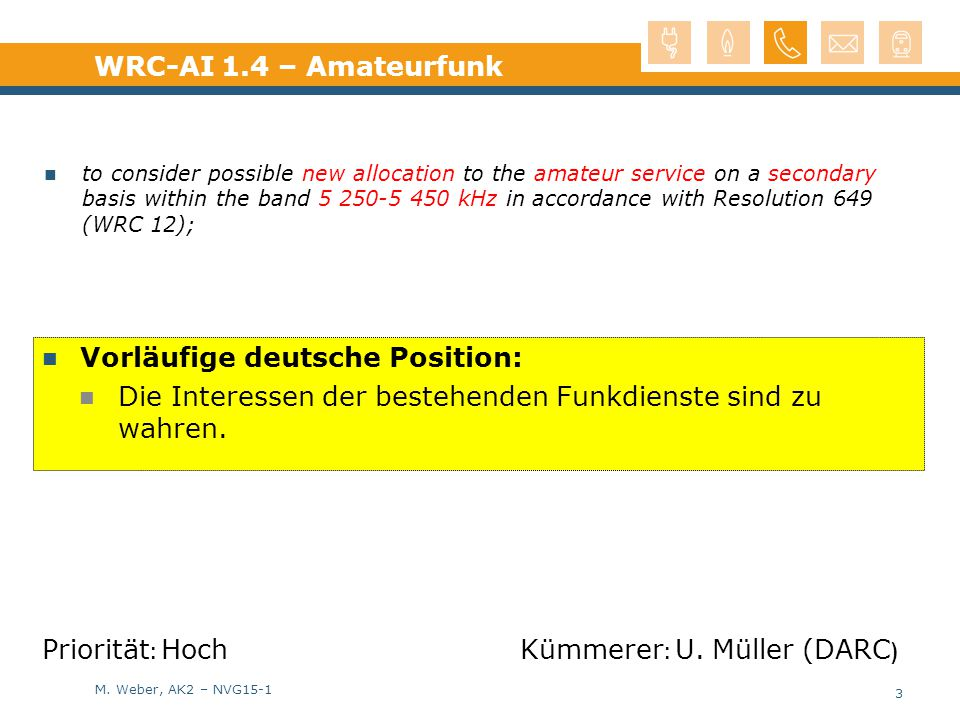M. Weber, AK2 – NVG15-1 Vorläufige deutsche Position: Die Interessen der bestehenden Funkdienste sind zu wahren. WRC-AI 1.4 – Amateurfunk to consider