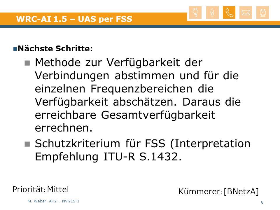 M. Weber, AK2 – NVG15-1 WRC-AI 1.5 – UAS per FSS Nächste Schritte: Methode zur Verfügbarkeit der Verbindungen abstimmen und für die einzelnen Frequenz