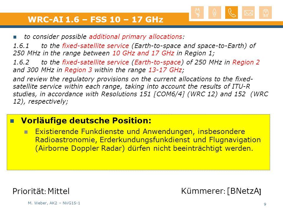 M. Weber, AK2 – NVG15-1 Vorläufige deutsche Position: Existierende Funkdienste und Anwendungen, insbesondere Radioastronomie, Erderkundungsfunkdienst