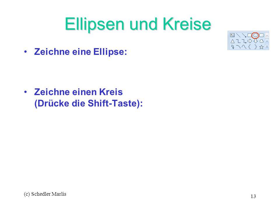(c) Schedler Marlis 13 Ellipsen und Kreise Ellipsen und Kreise Zeichne eine Ellipse: Zeichne einen Kreis (Drücke die Shift-Taste):