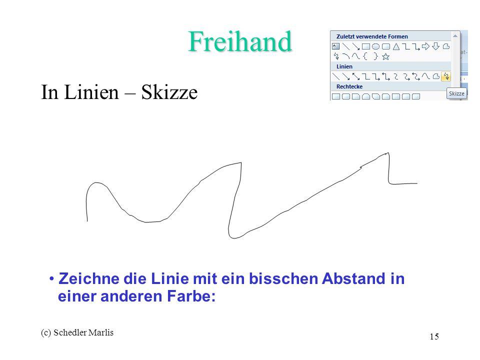 (c) Schedler Marlis 15 Freihand In Linien – Skizze Zeichne die Linie mit ein bisschen Abstand in einer anderen Farbe: