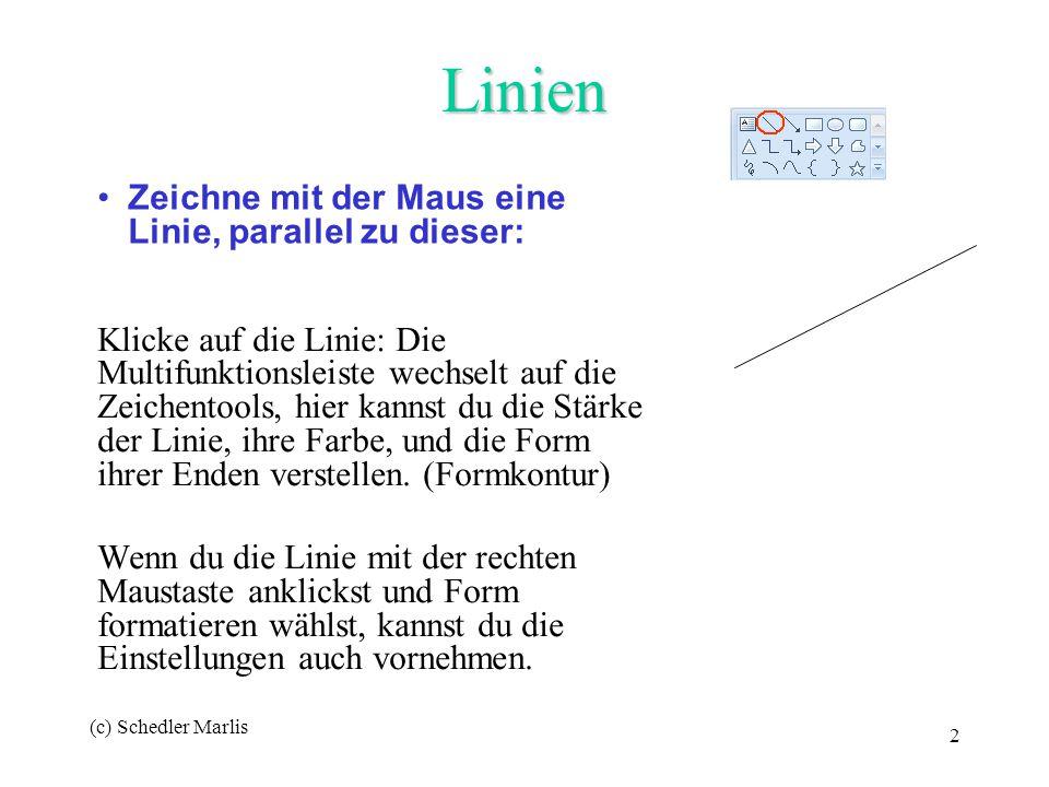 (c) Schedler Marlis 2 Linien Klicke auf die Linie: Die Multifunktionsleiste wechselt auf die Zeichentools, hier kannst du die Stärke der Linie, ihre F
