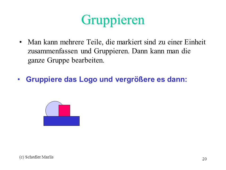 (c) Schedler Marlis 20 Gruppieren Man kann mehrere Teile, die markiert sind zu einer Einheit zusammenfassen und Gruppieren. Dann kann man die ganze Gr