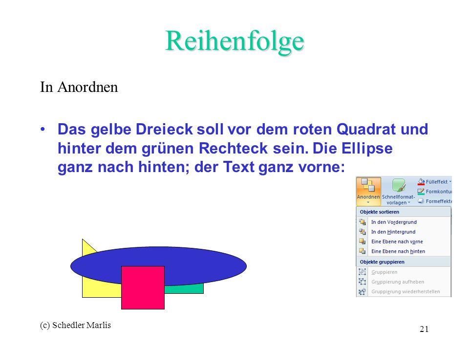 (c) Schedler Marlis 21 Reihenfolge In Anordnen Power Das gelbe Dreieck soll vor dem roten Quadrat und hinter dem grünen Rechteck sein. Die Ellipse gan
