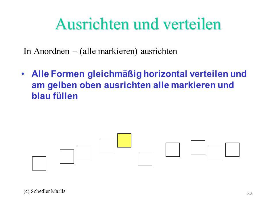 (c) Schedler Marlis 22 Ausrichten und verteilen In Anordnen – (alle markieren) ausrichten Alle Formen gleichmäßig horizontal verteilen und am gelben o