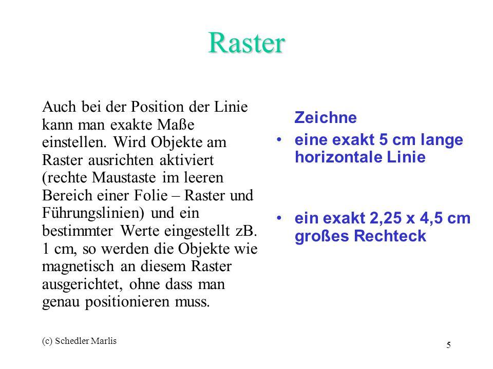 (c) Schedler Marlis 5 Raster Auch bei der Position der Linie kann man exakte Maße einstellen. Wird Objekte am Raster ausrichten aktiviert (rechte Maus