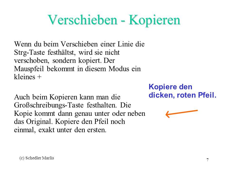 (c) Schedler Marlis 7 Verschieben - Kopieren Wenn du beim Verschieben einer Linie die Strg-Taste festhältst, wird sie nicht verschoben, sondern kopier