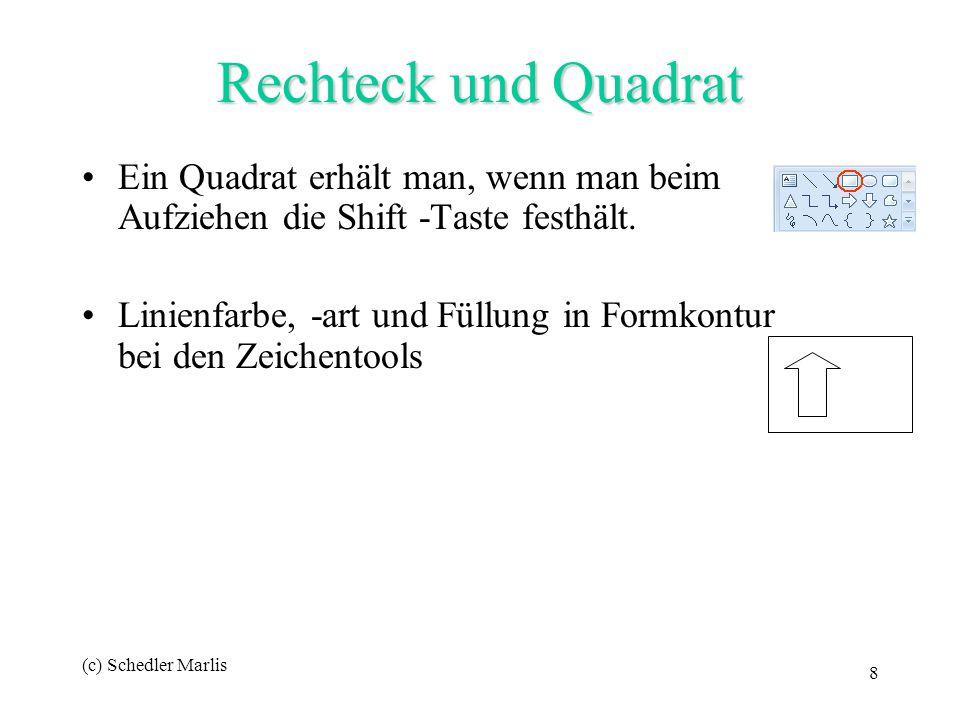 (c) Schedler Marlis 8 Ein Quadrat erhält man, wenn man beim Aufziehen die Shift -Taste festhält. Linienfarbe, -art und Füllung in Formkontur bei den Z