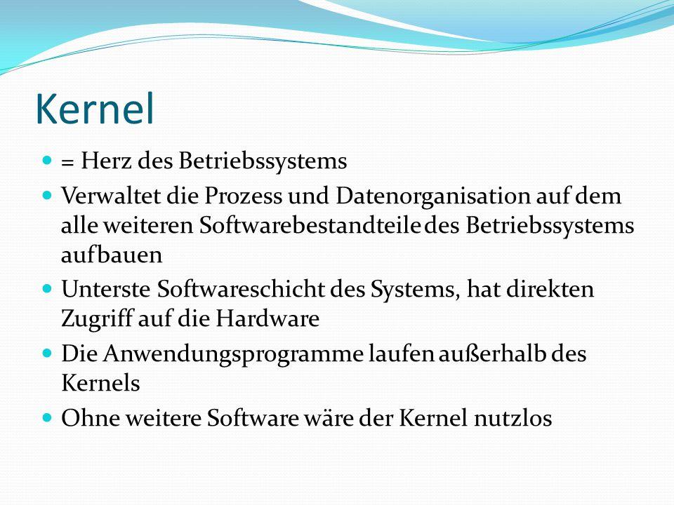 Kernel = Herz des Betriebssystems Verwaltet die Prozess und Datenorganisation auf dem alle weiteren Softwarebestandteile des Betriebssystems aufbauen