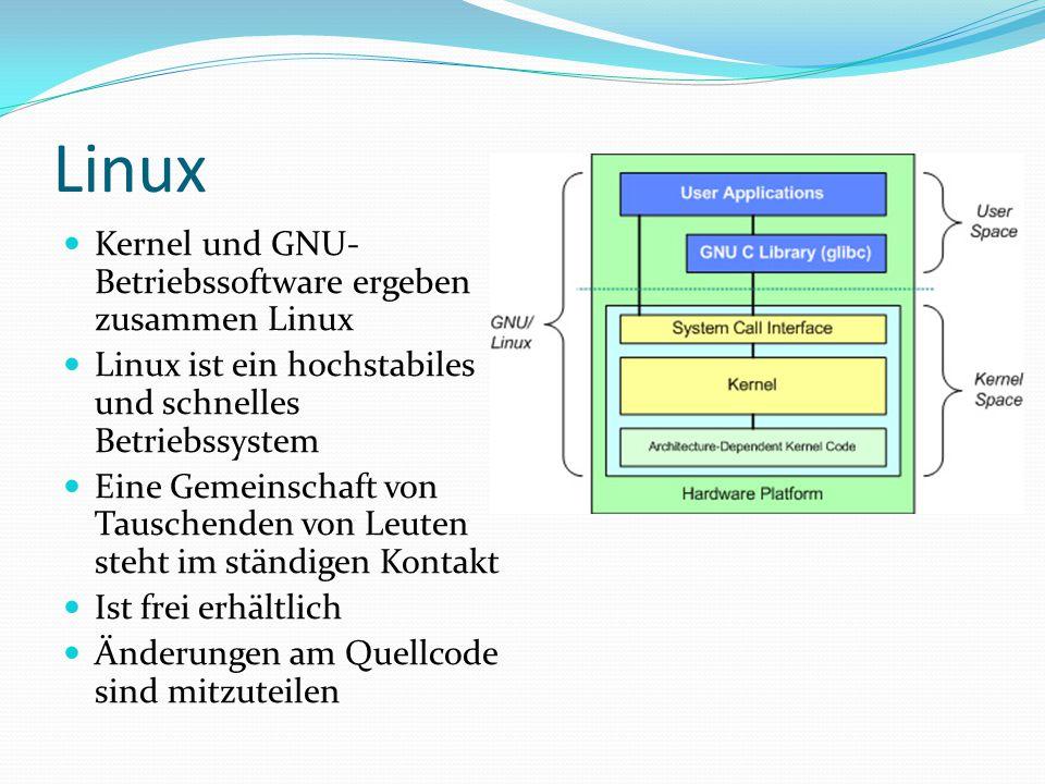 Linux Kernel und GNU- Betriebssoftware ergeben zusammen Linux Linux ist ein hochstabiles und schnelles Betriebssystem Eine Gemeinschaft von Tauschende