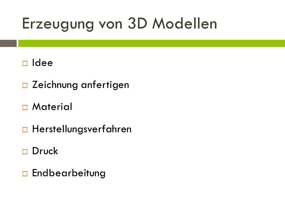 Erzeugung von 3D Modellen  Idee  Zeichnung anfertigen  Material  Herstellungsverfahren  Druck  Endbearbeitung
