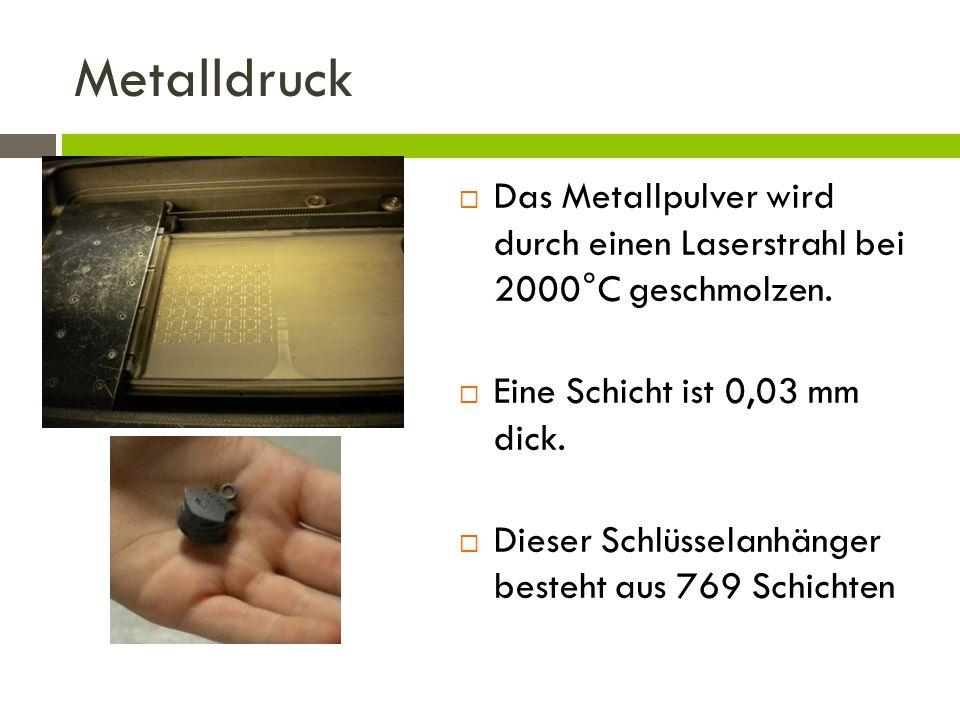 Metalldruck  Das Metallpulver wird durch einen Laserstrahl bei 2000°C geschmolzen.  Eine Schicht ist 0,03 mm dick.  Dieser Schlüsselanhänger besteh