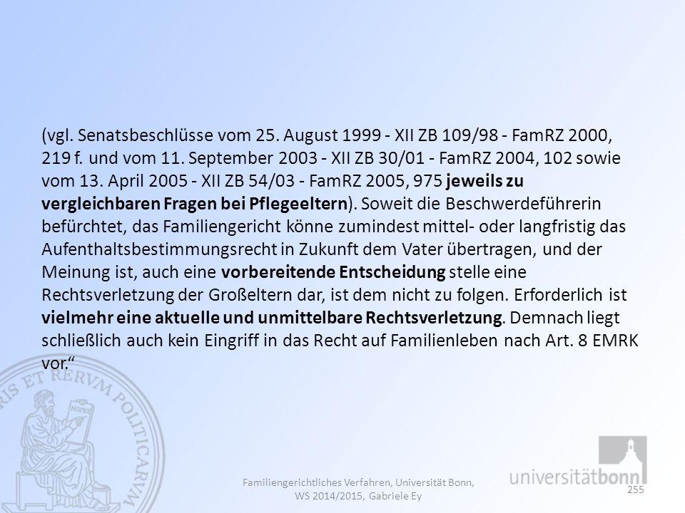 (vgl. Senatsbeschlüsse vom 25. August 1999 - XII ZB 109/98 - FamRZ 2000, 219 f. und vom 11. September 2003 - XII ZB 30/01 - FamRZ 2004, 102 sowie vom