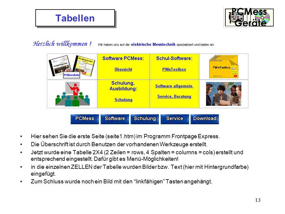13 Tabellen Hier sehen Sie die erste Seite (seite1.htm) im Programm Frontpage Express. Die Überschrift ist durch Benutzen der vorhandenen Werkzeuge er