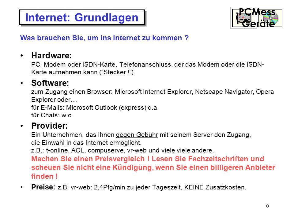 """6 Internet: Grundlagen Hardware: PC, Modem oder ISDN-Karte, Telefonanschluss, der das Modem oder die ISDN- Karte aufnehmen kann (""""Stecker !""""). Softwar"""