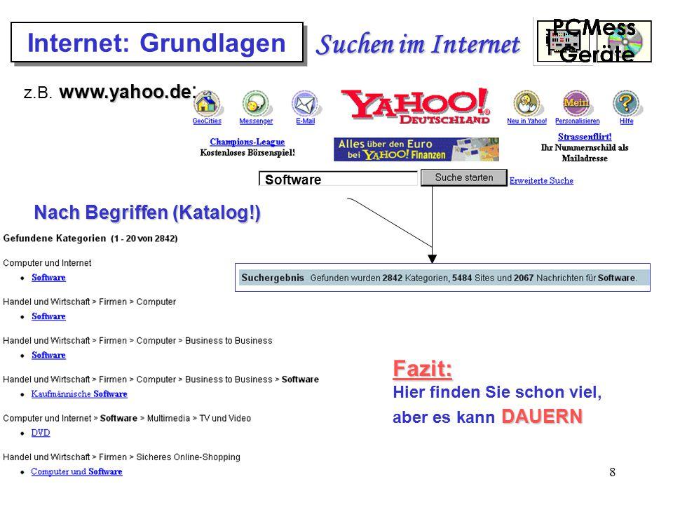 8 Internet: Grundlagen Suchen im Internet www.yahoo.de z.B. www.yahoo.de : Nach Begriffen (Katalog!) Software Fazit: Hier finden Sie schon viel, aber