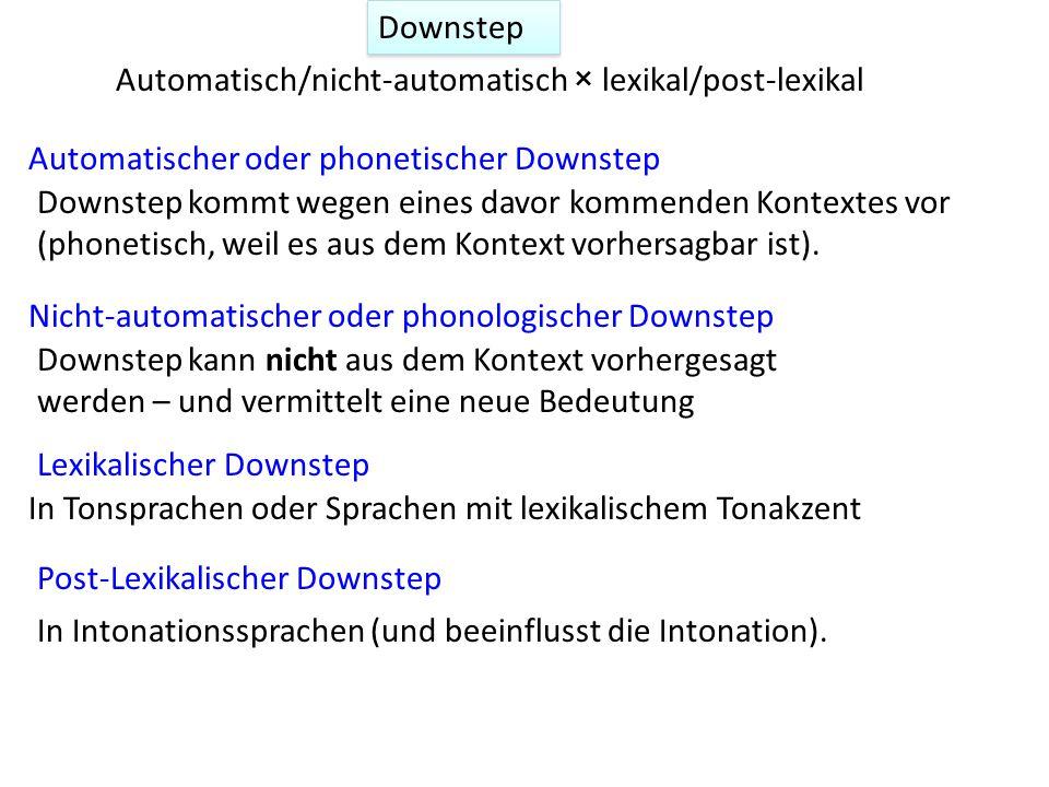1. Deklination und: 2. Downstep in Tonsprachen in Intonationssprachen Planung Finale Senkung Prominenz f0-Reset S. 2