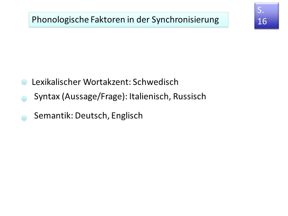 Die f0-Synchronisierung in akzentuierten Wörtern [a][a] [a][a][a][a] Vater d.h. es handelt sich um eine ähnliche f0-Gestaltung, die aber unterschiedli
