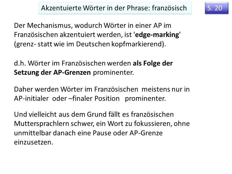 Intonationsmodell von Jun & Fougeron (2000, 2002) Deutsch, Englisch Französisch Verschiedene Tonakzente: montonal (H*), bitonal (H+L*) downstep (!H*)