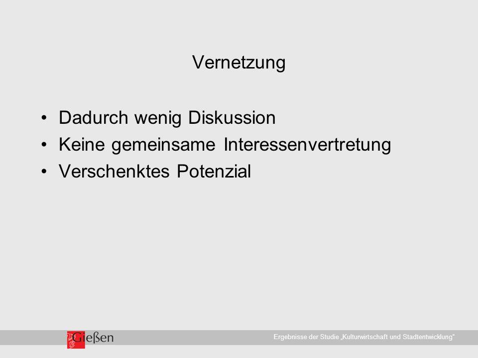 """Universitätsstadt Gießen · WirtschaftsförderungErgebnisse der Studie """"Kulturwirtschaft und Stadtentwicklung Vernetzung Dadurch wenig Diskussion Keine gemeinsame Interessenvertretung Verschenktes Potenzial"""