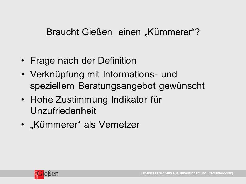 """Universitätsstadt Gießen · WirtschaftsförderungErgebnisse der Studie """"Kulturwirtschaft und Stadtentwicklung Braucht Gießen einen """"Kümmerer ."""