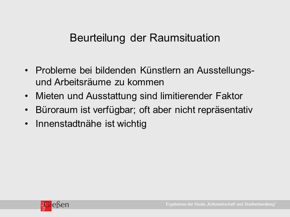 """Universitätsstadt Gießen · WirtschaftsförderungErgebnisse der Studie """"Kulturwirtschaft und Stadtentwicklung Beurteilung der Raumsituation Probleme bei bildenden Künstlern an Ausstellungs- und Arbeitsräume zu kommen Mieten und Ausstattung sind limitierender Faktor Büroraum ist verfügbar; oft aber nicht repräsentativ Innenstadtnähe ist wichtig"""