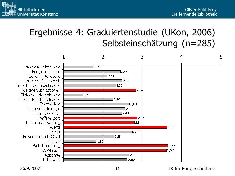 Oliver Kohl-Frey Die lernende Bibliothek Bibliothek der Universität Konstanz IK für Fortgeschrittene1126.9.2007 Ergebnisse 4: Graduiertenstudie (UKon,