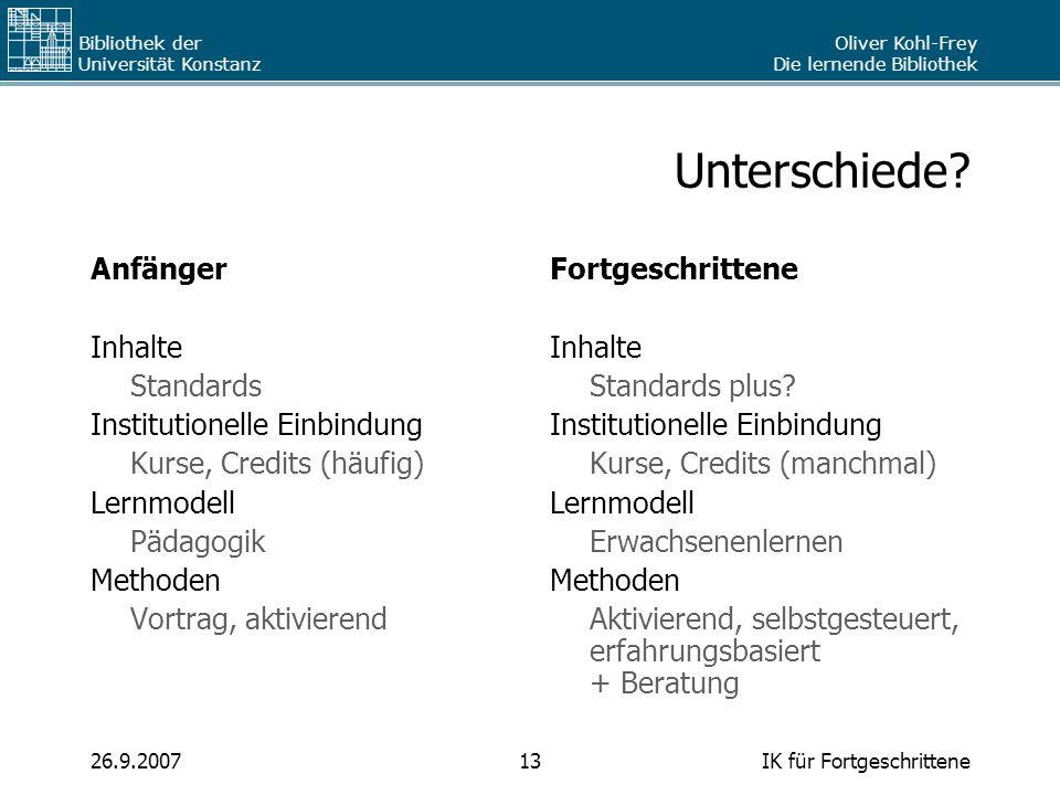 Oliver Kohl-Frey Die lernende Bibliothek Bibliothek der Universität Konstanz IK für Fortgeschrittene1326.9.2007 Unterschiede? Anfänger Inhalte Standar