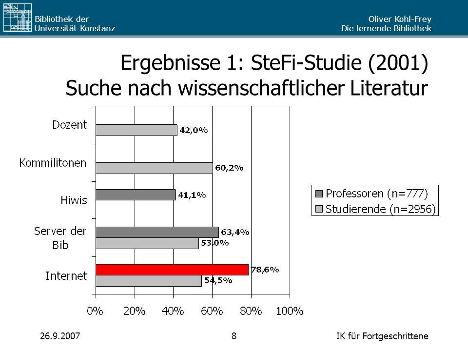 Oliver Kohl-Frey Die lernende Bibliothek Bibliothek der Universität Konstanz IK für Fortgeschrittene826.9.2007 Ergebnisse 1: SteFi-Studie (2001) Suche