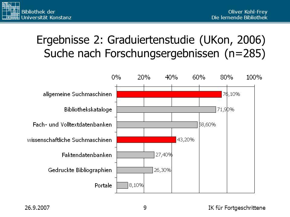 Oliver Kohl-Frey Die lernende Bibliothek Bibliothek der Universität Konstanz IK für Fortgeschrittene926.9.2007 Ergebnisse 2: Graduiertenstudie (UKon,
