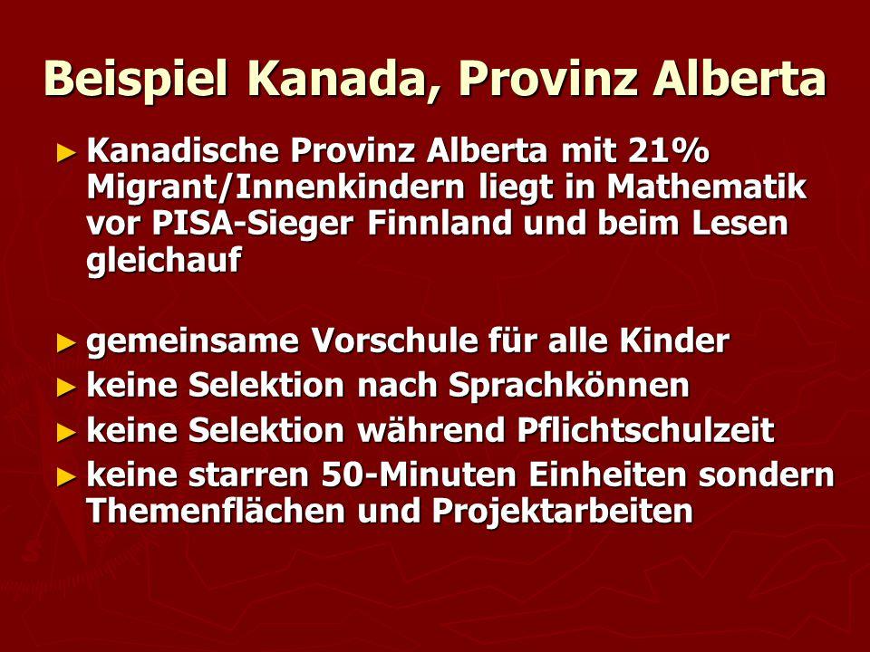 Beispiel Kanada, Provinz Alberta ► Kanadische Provinz Alberta mit 21% Migrant/Innenkindern liegt in Mathematik vor PISA-Sieger Finnland und beim Lesen