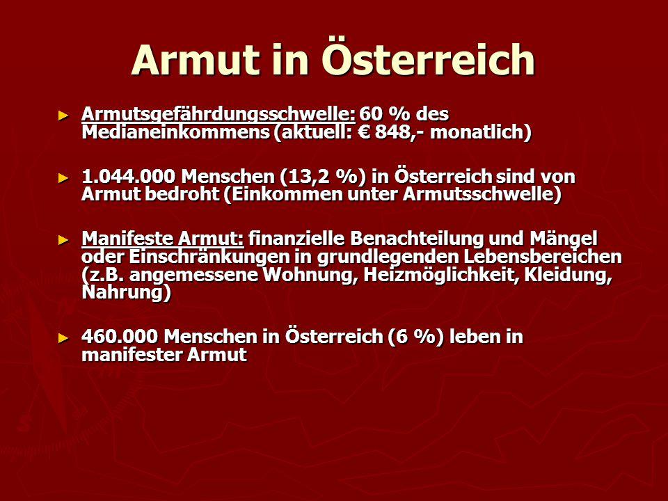 Armut in Österreich ► Armutsgefährdungsschwelle: 60 % des Medianeinkommens (aktuell: € 848,- monatlich) ► 1.044.000 Menschen (13,2 %) in Österreich si