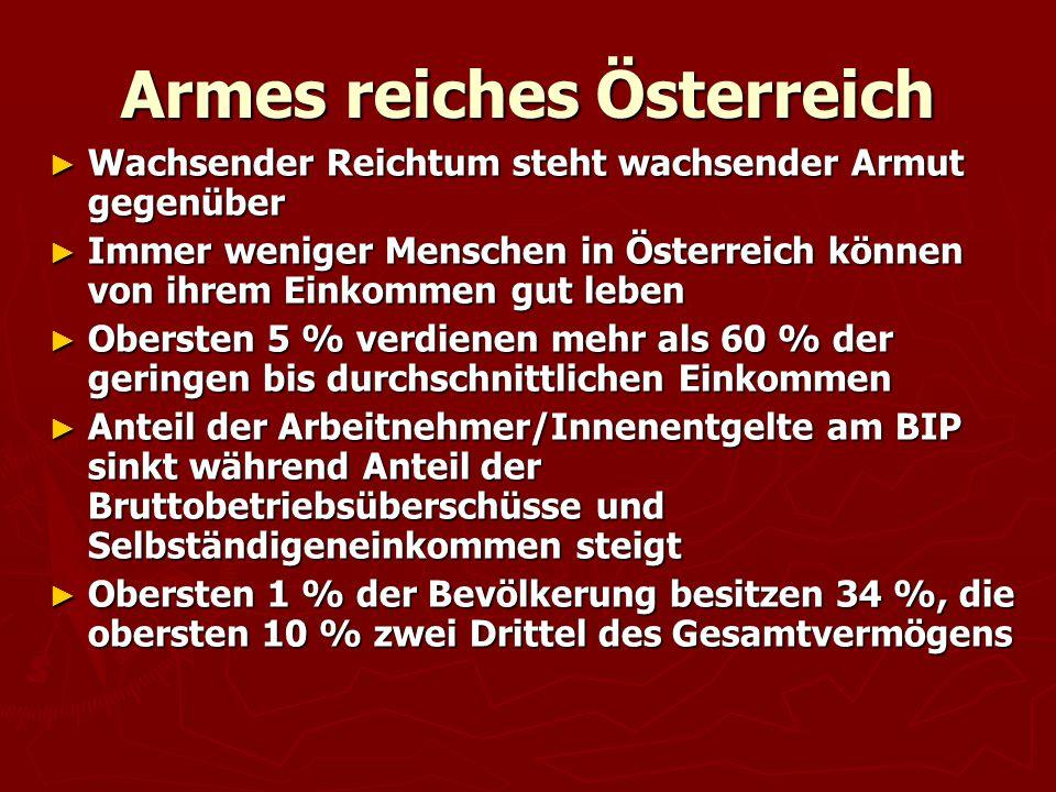 Armes reiches Österreich ► Wachsender Reichtum steht wachsender Armut gegenüber ► Immer weniger Menschen in Österreich können von ihrem Einkommen gut