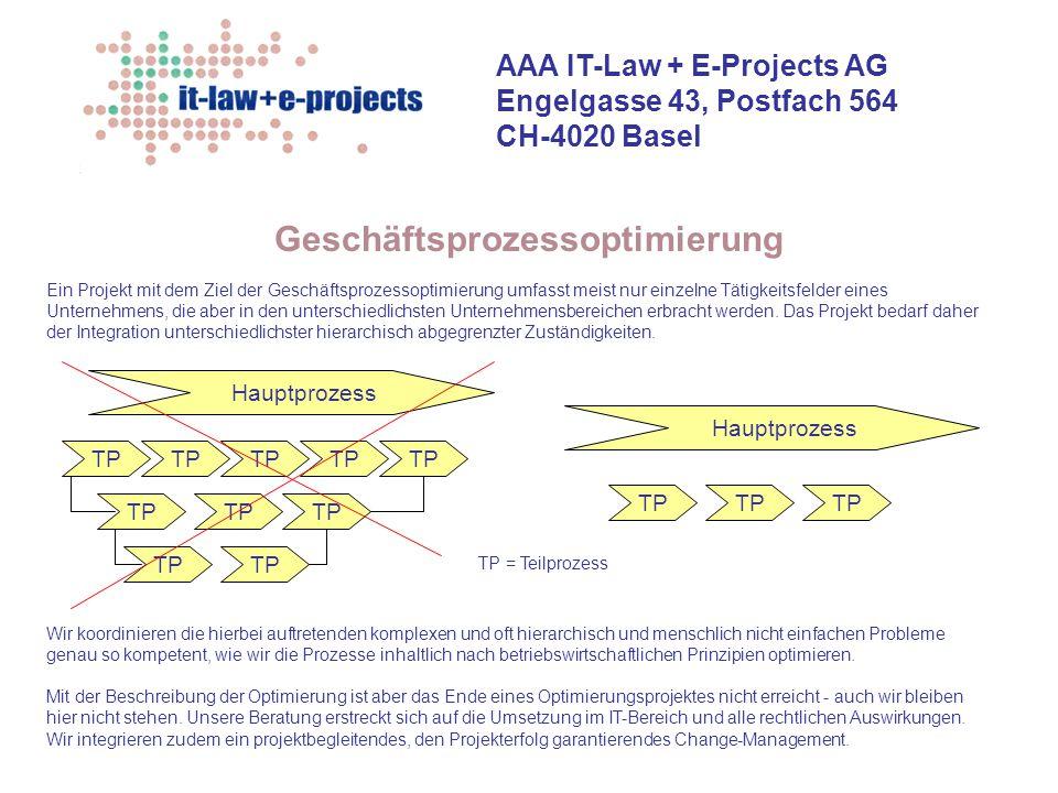 AAA IT-Law + E-Projects AG Engelgasse 43, Postfach 564 CH-4020 Basel Geschäftsprozessoptimierung Wir koordinieren die hierbei auftretenden komplexen u