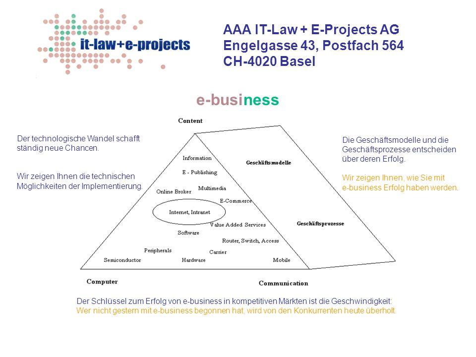 AAA IT-Law + E-Projects AG Engelgasse 43, Postfach 564 CH-4020 Basel Der technologische Wandel schafft ständig neue Chancen. Wir zeigen Ihnen die tech