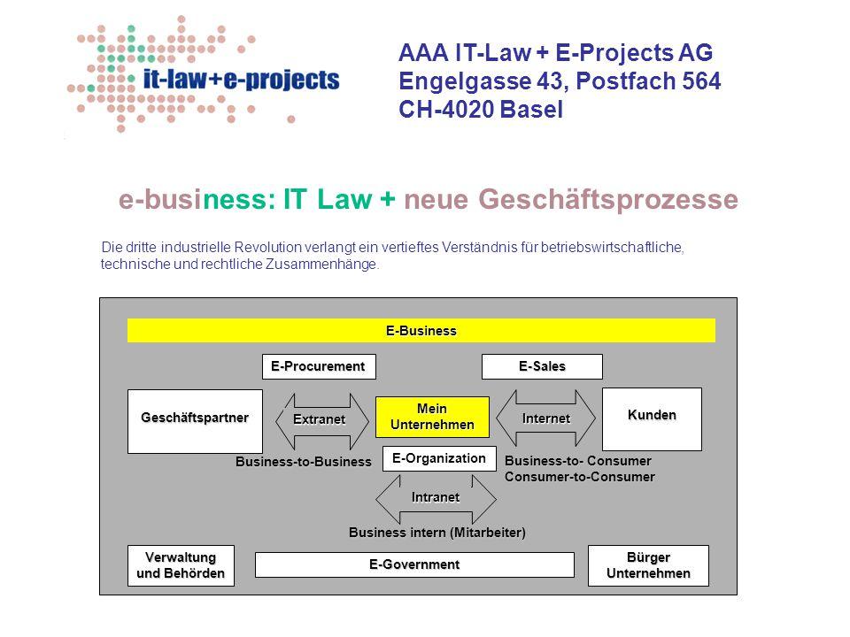 AAA IT-Law + E-Projects AG Engelgasse 43, Postfach 564 CH-4020 Basel e-business: IT Law + neue Geschäftsprozesse Die dritte industrielle Revolution ve