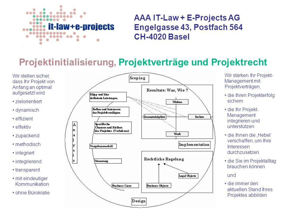 AAA IT-Law + E-Projects AG Engelgasse 43, Postfach 564 CH-4020 Basel Projektinitialisierung, Projektverträge und Projektrecht Wir stellen sicher, dass